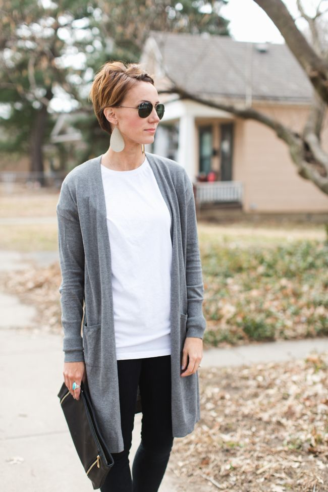 Gray Duster styled by ONE little MOMMA, paired with a leather clutch and leather earrings