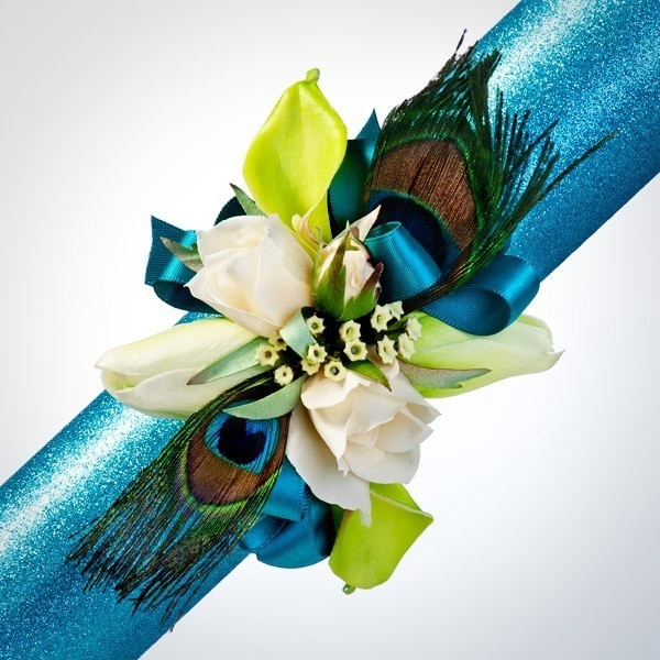 Peacock Feather Corsage | Prom Corsage | Wedding Corsage | Homecoming Corsage found on Polyvore