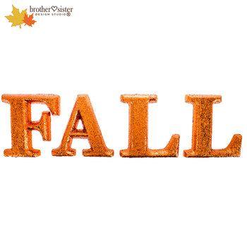 Fall Orange Glitter Letters