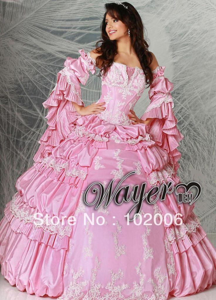 Настоящее Vestido Quinceanera классический принцесса кружева аппликация корсет складки слоя розовый пром Quinceanera платья бальные платья QD1274