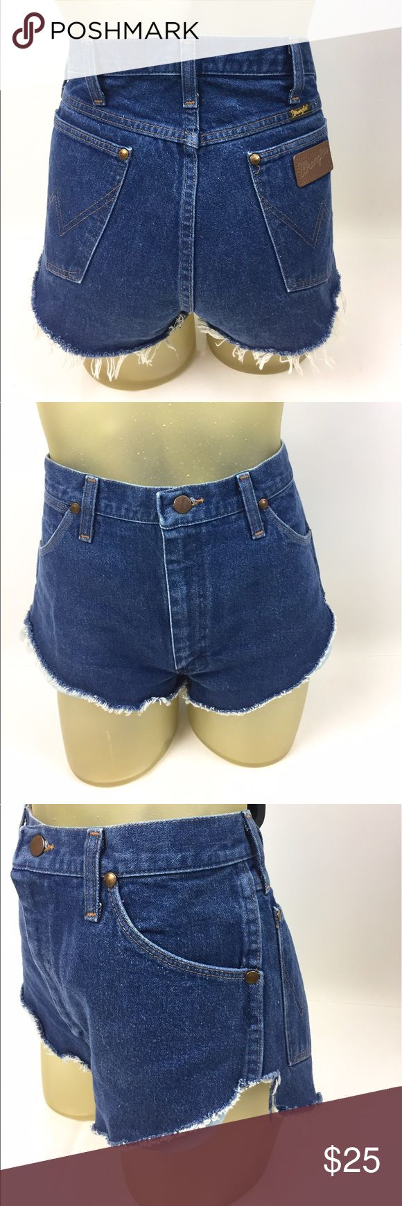 """Wrangler High Rise Dolphin Cut Off Jean Shorts 6 Hand cut jean shorts with a dolphin side. Frayed hem. 32"""" waist, 12"""" high rise, 1 1/4"""" cheeky inseam. 100% cotton, made in the USA. A04040 Wrangler Shorts Jean Shorts"""