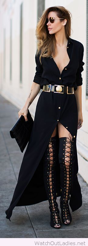 Wonderful black boots and dress design