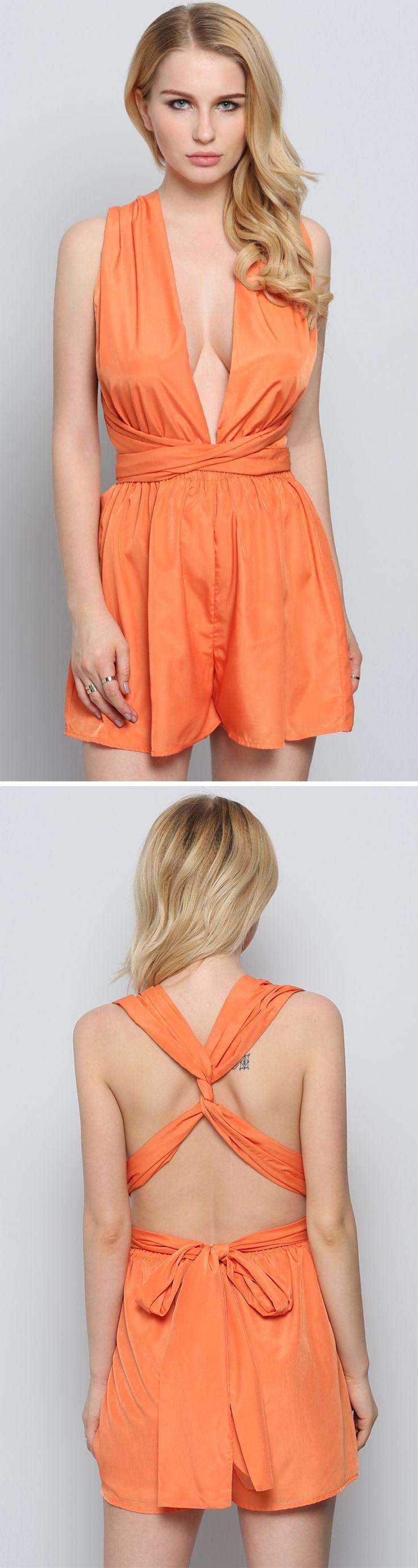 Orange Sleeveless Backless Playsuit