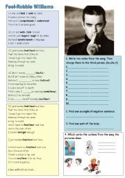 English teaching worksheets: Present simple songs