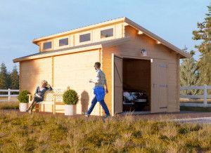Garage en bois Twin 400x600 44mm, 24m²