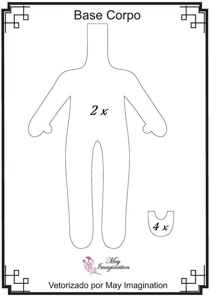 Molde Corpo: será usado em todas as bonecas, menos na Pequena Sereia.