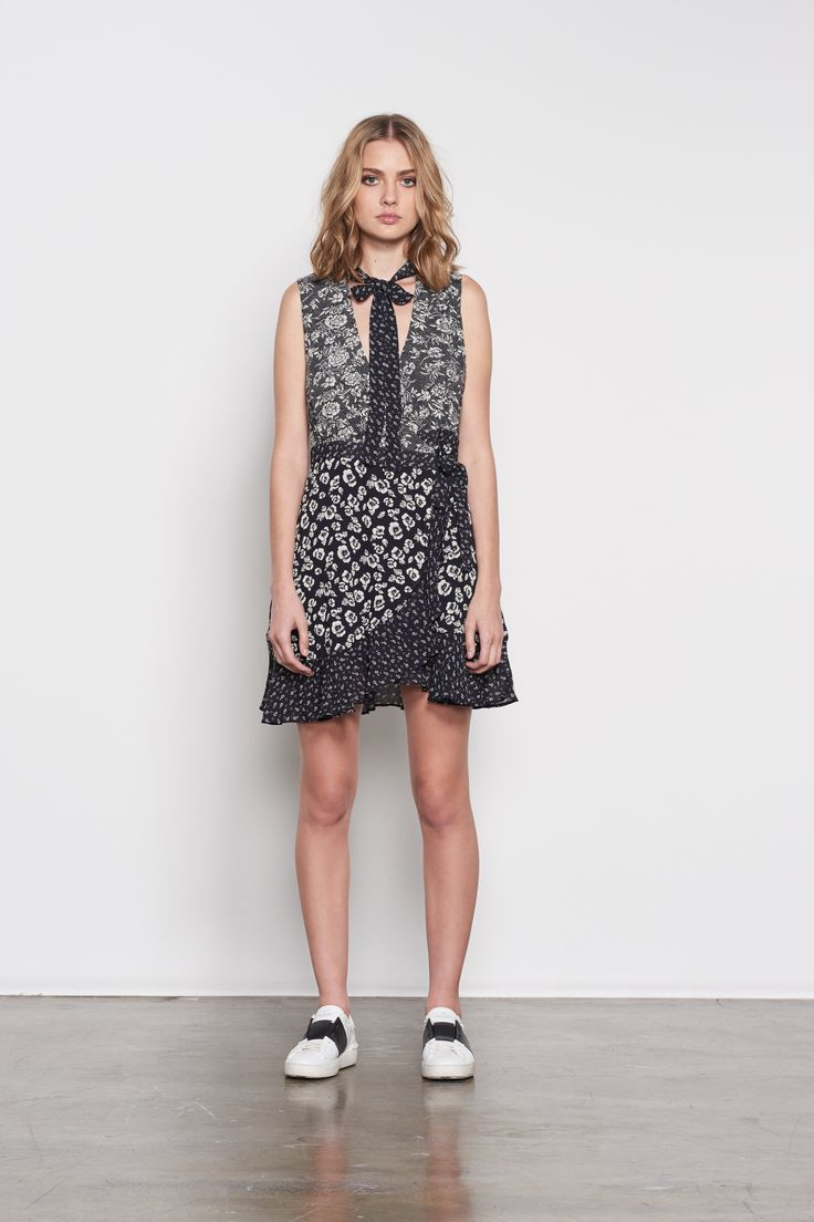 ISLA  - April Wrap Dress - Black Patch Print