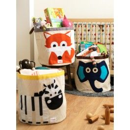 """Help your kids clean up their act with our cute animal storage bins. Well sized for storing toys, books or laundry our storage bin measures 17.5"""" in height and 17"""" in diameter. Made of a heavy cotton canvas our bin is tough enough to hold whatever you throw in it but cute enough to compliment the best dressed home. A great space saver our bin folds easily away when not in use. The 3 Sprouts storage bin is a perfect gift for babies, toddlers and kids. Made in China. dimensions:…"""