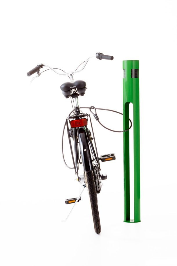 a solar-powered lighted cycle stand - designed by Henrik Sørig Thomsen for Nola