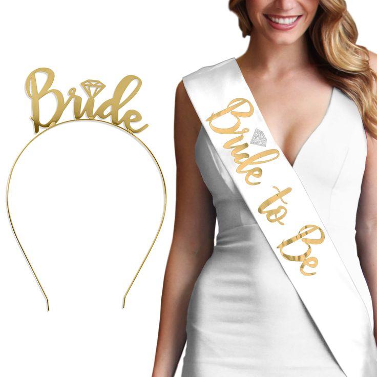 Gold Bride Set - Luxury Satin sash & Metallic Gold Bride Headband,  Bride Gift, Bridal Shower Gift, Bachelorette Party Sash,  tiara by ABridalShop on Etsy https://www.etsy.com/listing/154454385/gold-bride-set-luxury-satin-sash