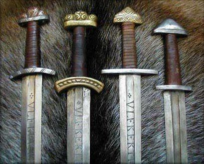 The famous ULFBERT swords. The authentic ones were made out of crucible steel imported from Afghanistan and India. For the period it was a very advanced steel technology.