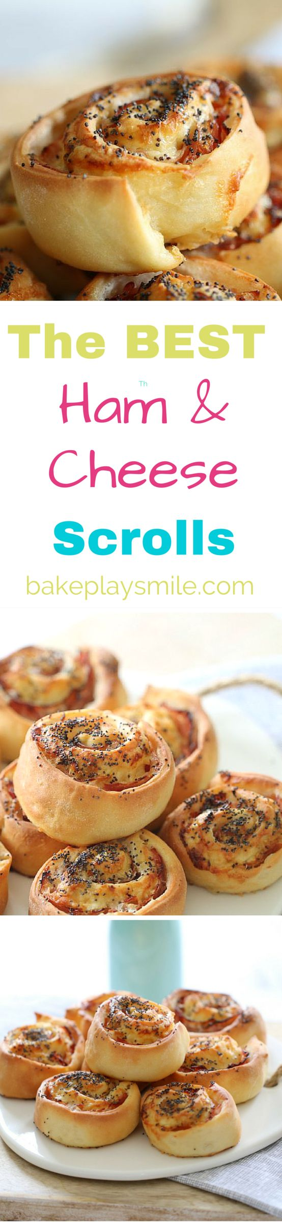 These Ham & Cheese Scrolls with mayonnaise are perfectly crispy on the outside and soft on the inside. They're perfect for lunch boxes and can also be frozen. | Bake Play Smile