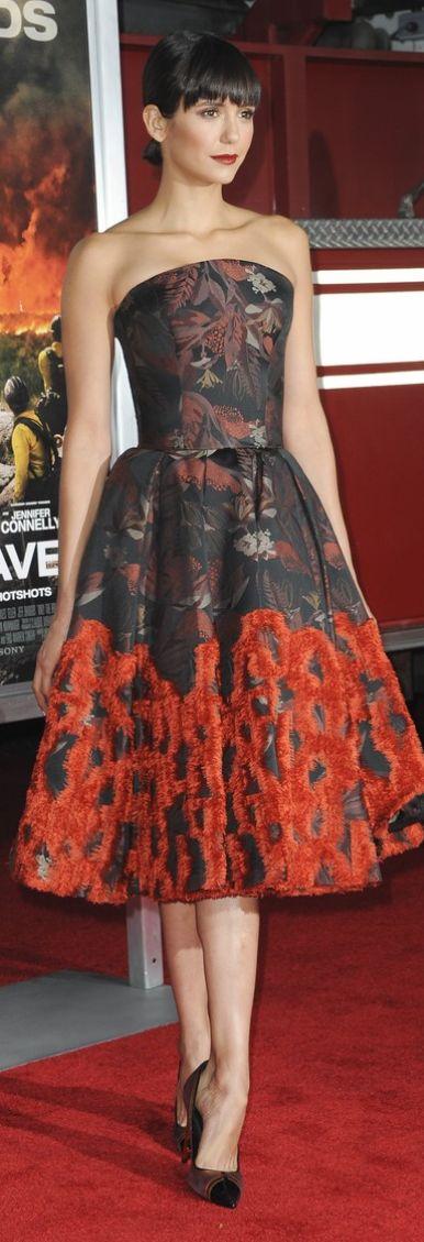 Nina Dobrev wearing Jimmy Choo, Target / Zac Posen and Nicholas Kirkwood