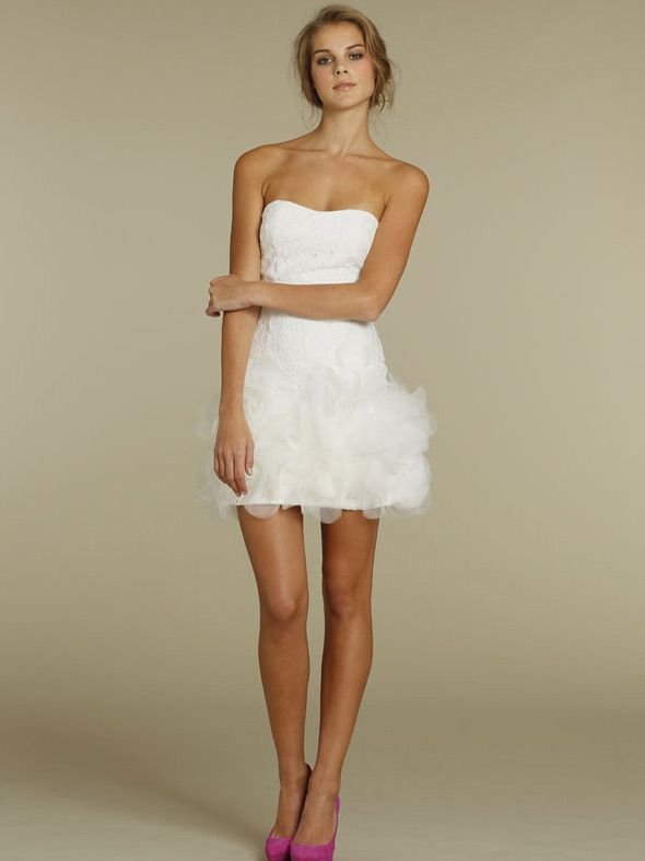 strapless cotton lace mini bridal dress with dancing pedaled hem