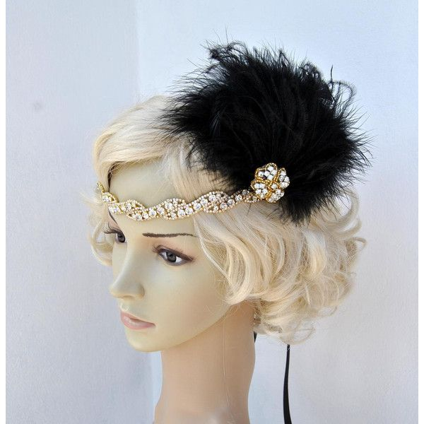 Vintage Inspired Headband the Great Gatsby Headband 1920s Headpiece... ($38) ❤ liked on Polyvore featuring accessories, hair accessories, black, headbands & turbans, 20s headband, headband hair accessories, flapper feather headband, headband fascinator and feather fascinators