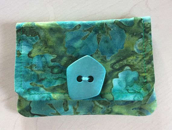 Credit Card Wallet Turquoise Green Batik Fabric Gift Card