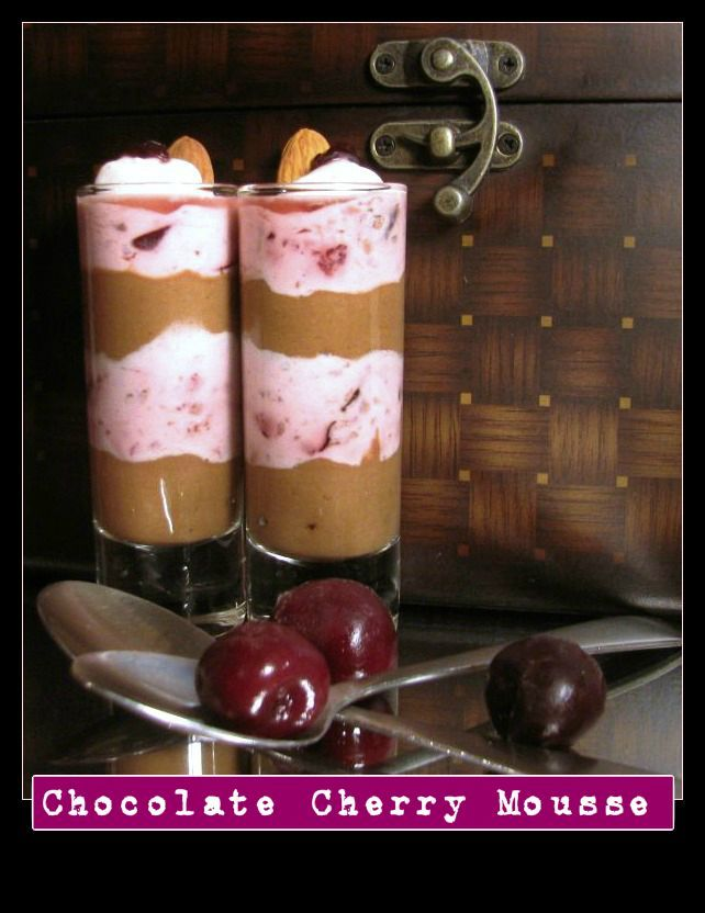 Dairy Free Chocolate Cherry Mousse made with frozen banana,fresh avocado,coconut cream and juicy cherries. lotus raw vegan living original recipe*