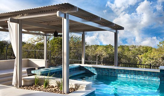 pergola over pool entrance.  but covered with wisteria Pool Shade Ideas: 7 Ways to Cover Your Swimming Pool