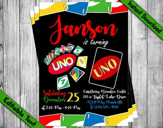 Instantly Download Edit And Print This Uno Birthday Invitation Our Di Party Invite Template Birthday Party Invitation Templates Birthday Invitation Templates