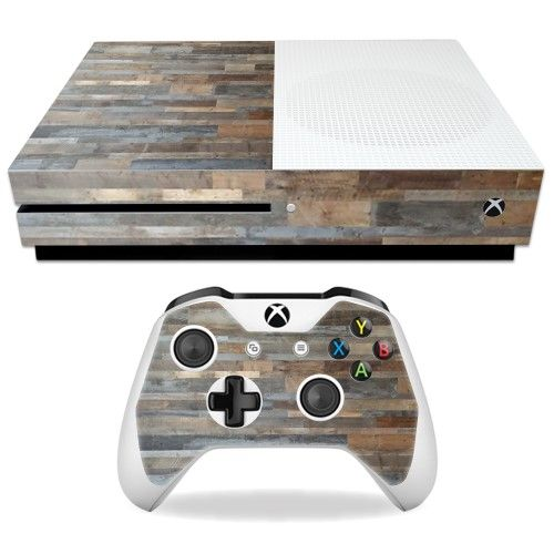 (*** http://BubbleCraze.org - Bubble Popping meets Tetris? OH YEAH! ***)  Skin Decal Wrap for Microsoft Xbox One S Gray Wood