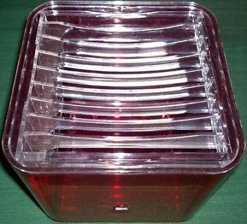 cd houder guzzini doorzichtig rood ruimte voor 9 discs