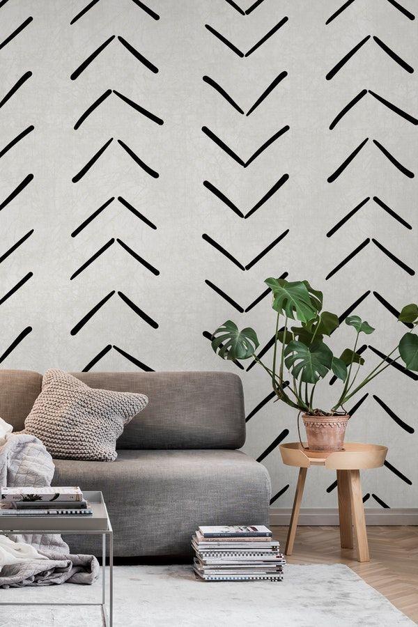 Big Arrows in Cream Wall mural | Modern wallpaper accent wall ...