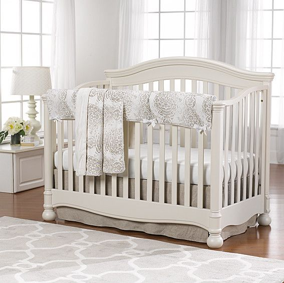Tristan Gray and Taupe with Linens Bumperless Crib Bedding | Liz and Roo Fine Baby Bedding. Our Tristan crib bedding is one of our newest in the line of gender neutral colors. This soft palette is the color taupe with hints of gray on soft white background.