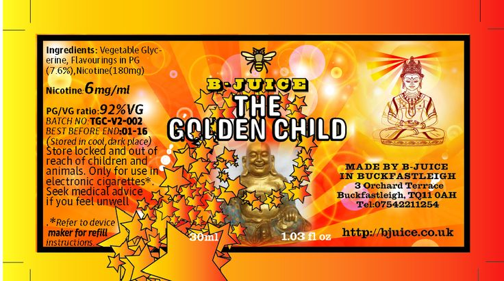 Juice doesn't even take credit for the Golden Child, the sentient bee gave hi everything he needed to create this juice, an offspring to carry on the legacy born of the bee, apple and caramel the sweetness tempered with green tea, combine over a solid tobacco base. The Golden Child is everything Juice could have wished for. http://bjuice.co.uk/product/golden-child-30mls-ejuice-glass-dropper-bottle/