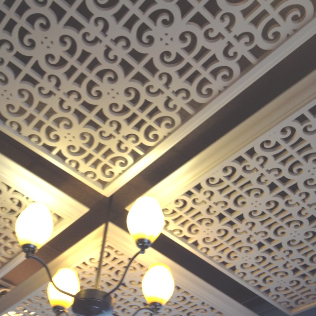 Non-hideous drop ceiling tiles do exist!  If only this pin had a source.  :(