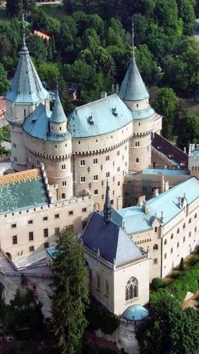 Bojnice Castle, Slovakia  RK - 2 of my kids are 1/2 Slovakian. Do you think they can lay claim to this castle?