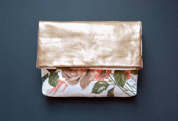 antique rose gold leather clutch   GiftShopBrooklyn
