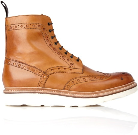 Grenson Tan Brogued Fred Vibram Boots