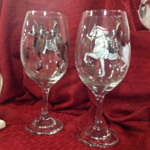Horse Custom Glasses, Send me a photo and I will paint your horse on a wine glass (available in stemless too). Priced per pair.