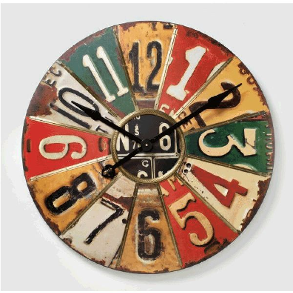 Extra Large Wall Clocks | ... Styled Extra Large Number Plate Multicoloured Panel Wooden Wall Clock