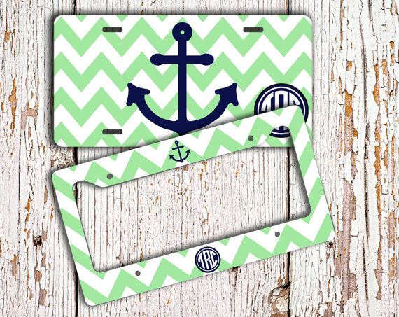 Hey, I found this really awesome Etsy listing at https://www.etsy.com/listing/160564850/anchor-monogrammed-license-plate-or