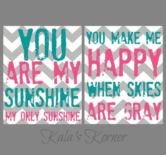 pink turqouise gray chevron nursery art sunshine by KalasKorner, $20.00