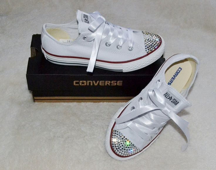 Customised Crystal White Low Top All Star Converse With