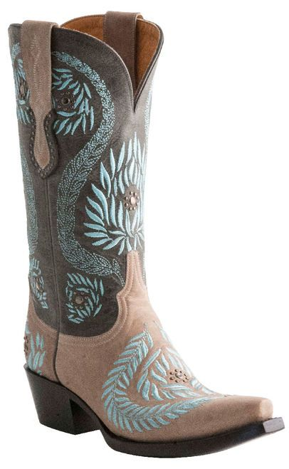 Women's Lucchese 1883 M4835 Ornamental Laurel Leaf Bone/Blue Cowgirl Boots