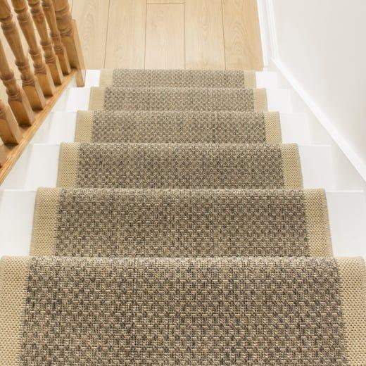 Best Gingham Tweed Beige Stair Runner Carpet Stairs Hallway 400 x 300
