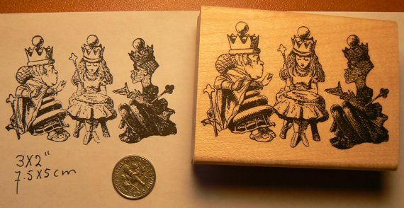 Alice in Wonderlands with chess queens rubber stamp WM P50