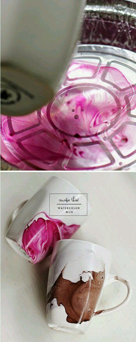 Nail polish and water paint mug