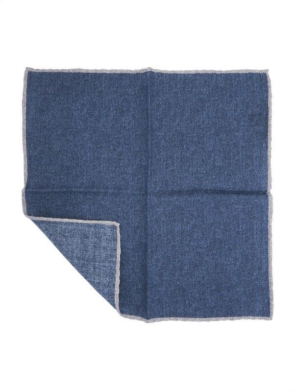 Blue pocket handkerchief of wool Rosi Collection Made in Italy