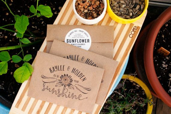 Seed Packet Wedding Favors - Personalized Sunflower Seed Bag with Seeds included  - Seed Favor - 30 Packets or more