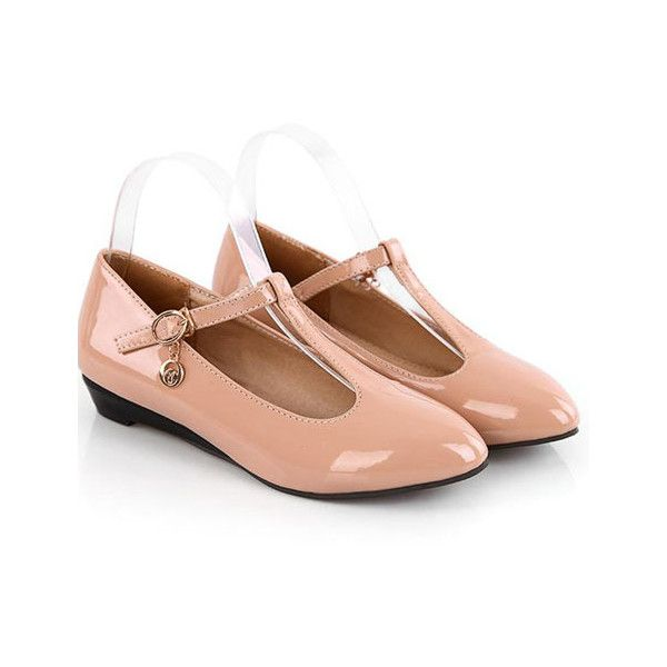 Preppy Style Buckle Decorated Apricot Loafers For Women With T Strap... (£11) ❤ liked on Polyvore featuring shoes, flats, preppy shoes, t bar flats, preppy flats, embellished flats and decorating shoes