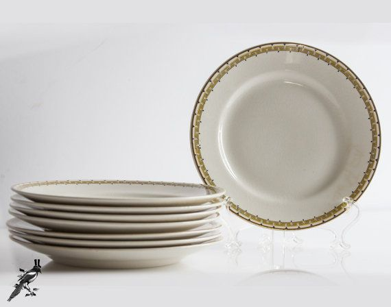 Set of 8 Haviland & Co Limoges France/C.P. Co 'Albany' Bread and Butter Plates - Schleiger 107A - Gold and Black Trim Greek Key by TheCordialMagpie from Etsy. Find it now at http://ift.tt/29K8vZH!