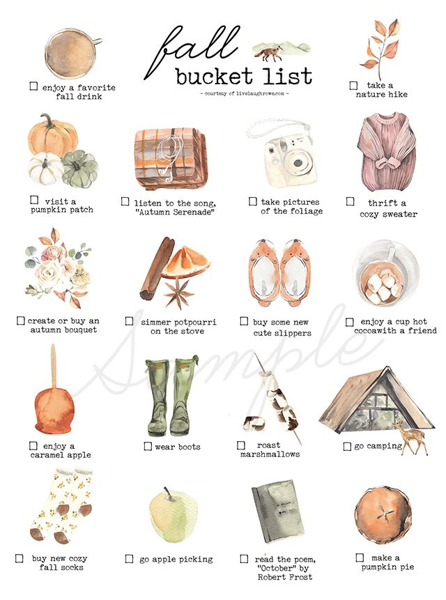 Druckbare Fall Bucket List Ideen