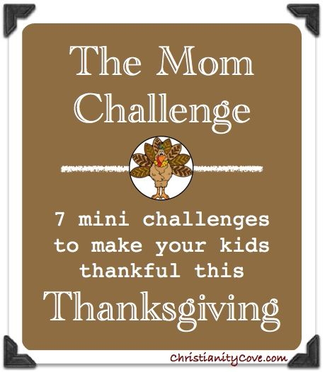 Oh my goodness...I read this entire challenge and this is AMAZING!!Thanksgiving Mom Challenge: 7 Mini Challenges to Make Your Kids Thankful this Thanksgiving