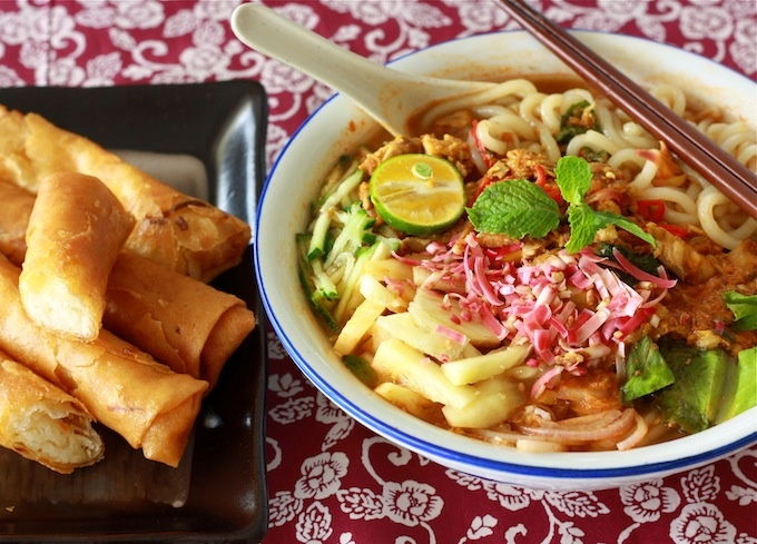Penang Asam Laksa with Fried Spring Rolls