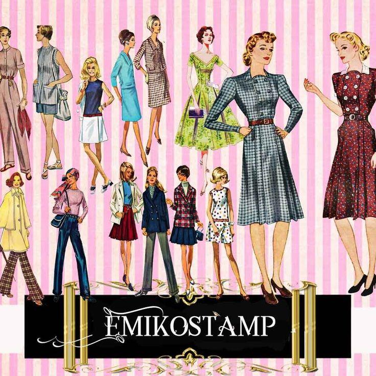 Vintage Paper Dolls Retro Fashion,Die-Cut ephemera,Scrapbook Journal Decoupage