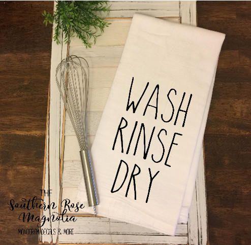 Rae Dunn Inspired Flour Sack Towel, Farmhouse Tea Towel, Wash, Rinse, Dry, Farmhouse Style, Flour Sack Towel, Christmas Gift ideas, Rustic